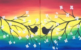Painting and Vino Lovebirds